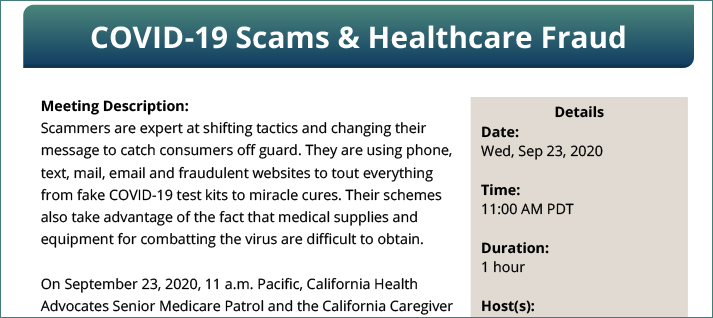 COVID-19 Scams & Healthcare Fraud <b><br>(Wed Sept. 23, 2020 11:00AM PDT)</b>